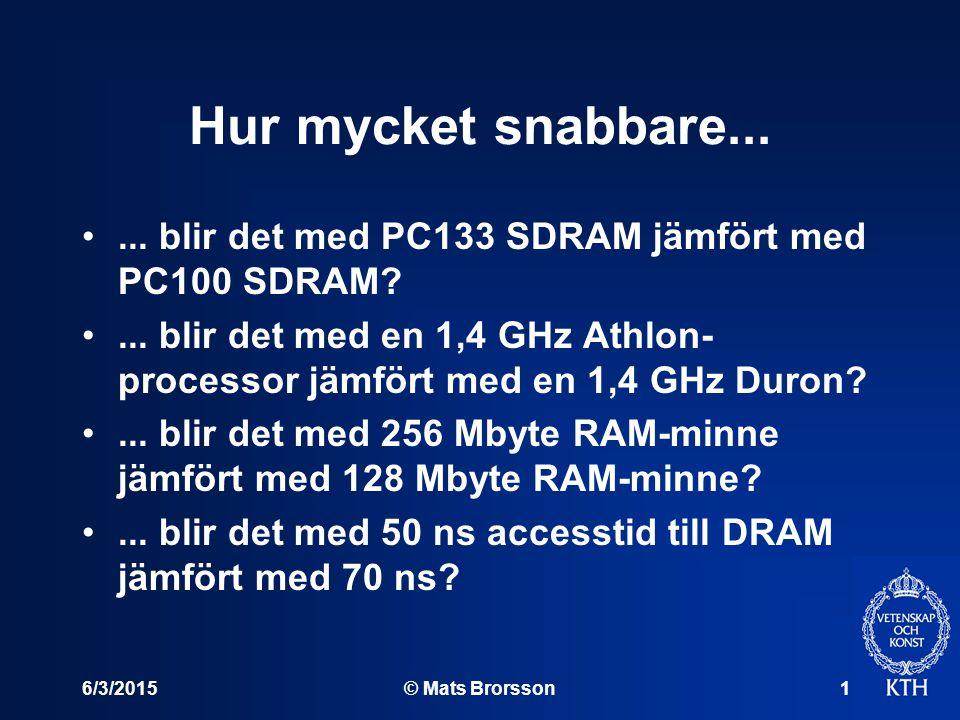 6/3/2015© Mats Brorsson1 Hur mycket snabbare...... blir det med PC133 SDRAM jämfört med PC100 SDRAM?... blir det med en 1,4 GHz Athlon- processor jämf