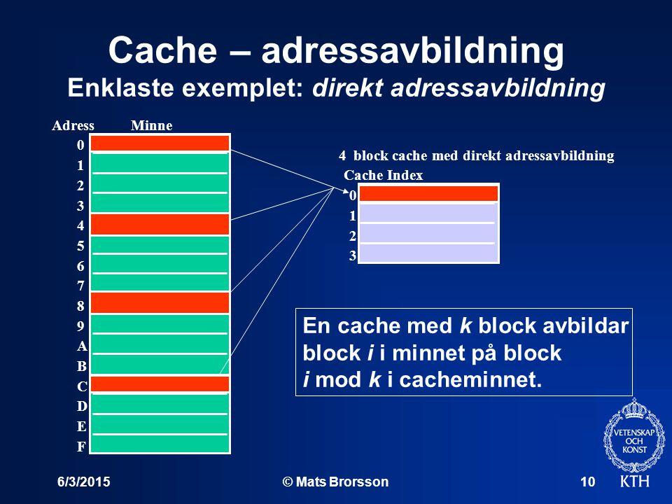 6/3/2015© Mats Brorsson10 Cache – adressavbildning Enklaste exemplet: direkt adressavbildning Minne 4 block cache med direkt adressavbildning Adress 0 1 2 3 4 5 6 7 8 9 A B C D E F Cache Index 0 1 2 3 En cache med k block avbildar block i i minnet på block i mod k i cacheminnet.