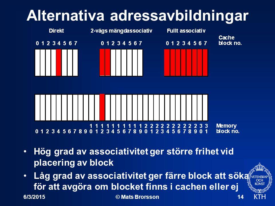 6/3/2015© Mats Brorsson14 Alternativa adressavbildningar Hög grad av associativitet ger större frihet vid placering av block Låg grad av associativitet ger färre block att söka för att avgöra om blocket finns i cachen eller ej