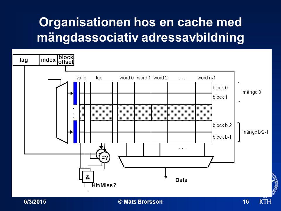 6/3/2015© Mats Brorsson16 Organisationen hos en cache med mängdassociativ adressavbildning word 0word 1word 2word n-1tagvalid...... =? & Hit/Miss? Dat