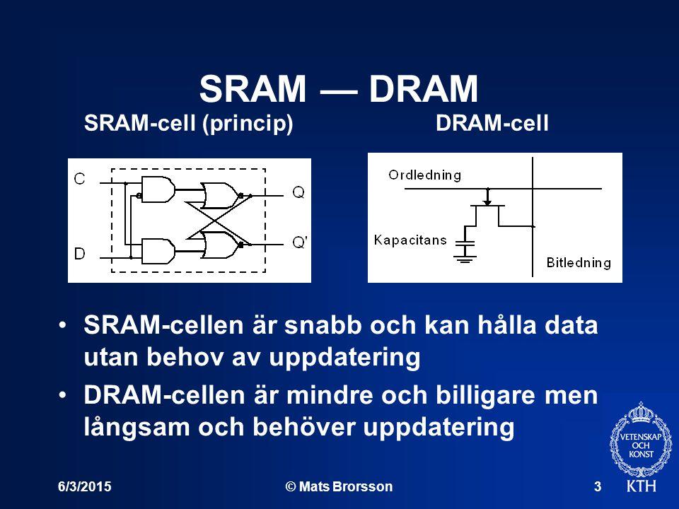6/3/2015© Mats Brorsson3 SRAM — DRAM SRAM-cellen är snabb och kan hålla data utan behov av uppdatering DRAM-cellen är mindre och billigare men långsam