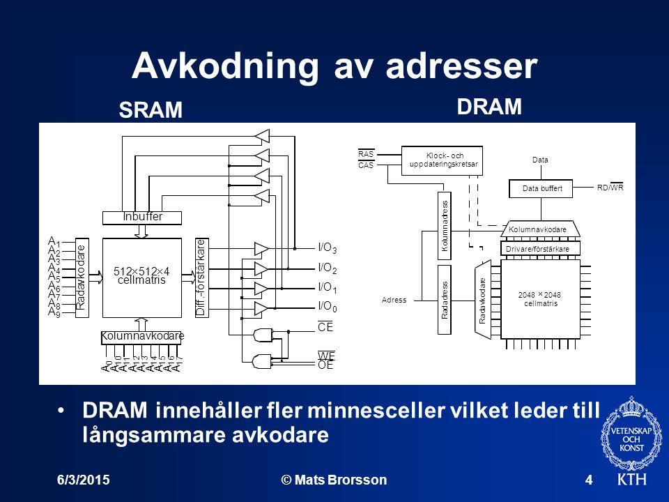 6/3/2015© Mats Brorsson4 Avkodning av adresser DRAM innehåller fler minnesceller vilket leder till långsammare avkodare R a d a v k o d a r e Kolumnav