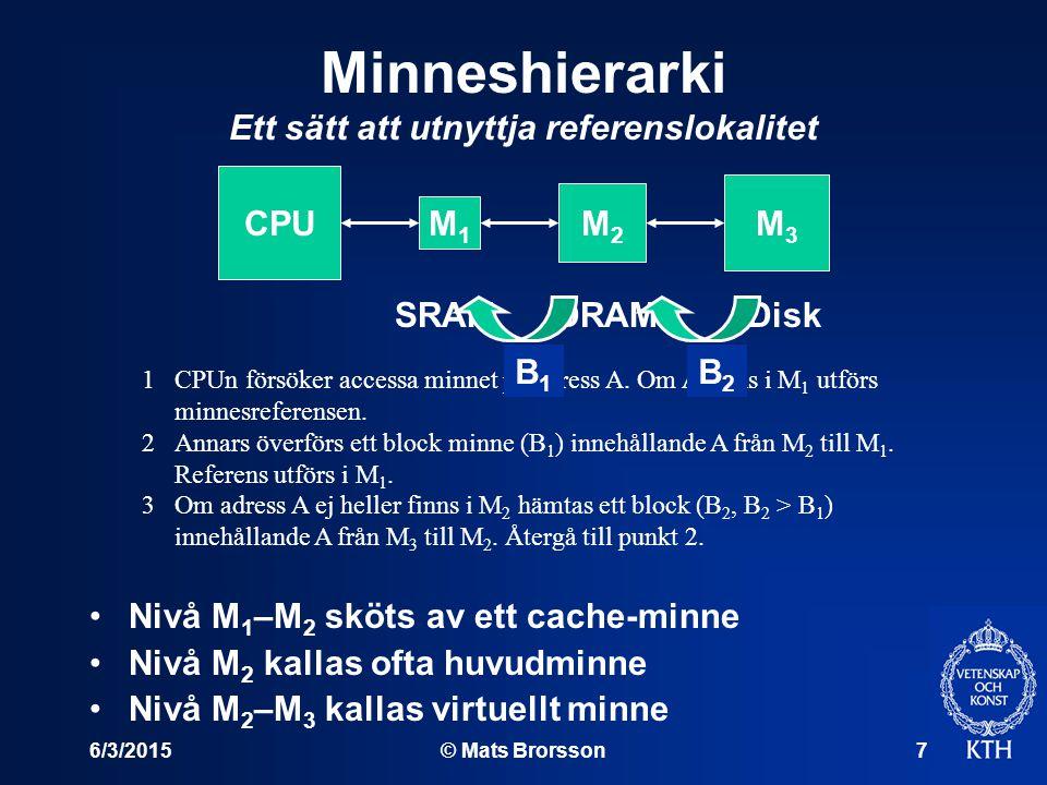 6/3/2015© Mats Brorsson7 Minneshierarki Ett sätt att utnyttja referenslokalitet Nivå M 1 –M 2 sköts av ett cache-minne Nivå M 2 kallas ofta huvudminne Nivå M 2 –M 3 kallas virtuellt minne CPU M1M1 M2M2 M3M3 SRAM DRAM Disk 1CPUn försöker accessa minnet på adress A.
