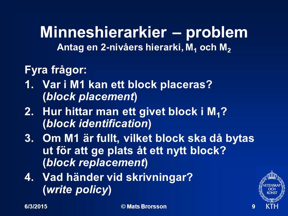 6/3/2015© Mats Brorsson9 Minneshierarkier – problem Antag en 2-nivåers hierarki, M 1 och M 2 Fyra frågor: 1.Var i M1 kan ett block placeras? (block pl
