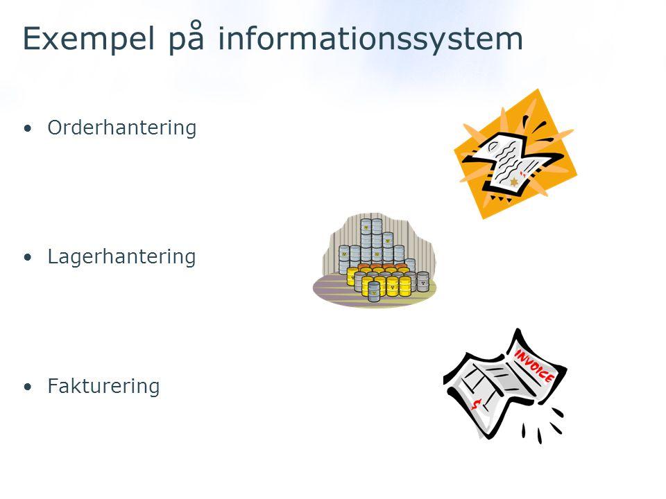 Exempel på informationssystem Orderhantering Lagerhantering Fakturering