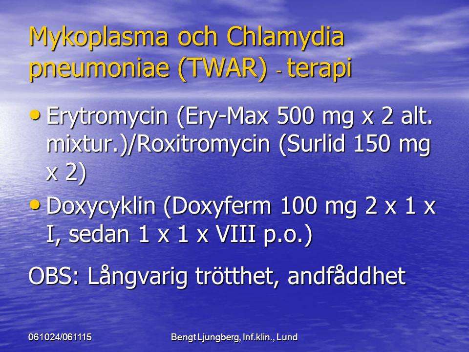 061024/061115Bengt Ljungberg, Inf.klin., Lund Mykoplasma och Chlamydia pneumoniae (TWAR) - terapi Erytromycin (Ery-Max 500 mg x 2 alt. mixtur.)/Roxitr