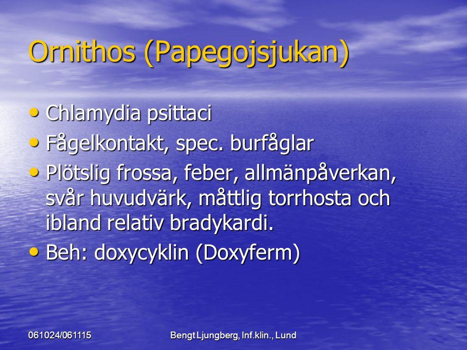 061024/061115Bengt Ljungberg, Inf.klin., Lund Ornithos (Papegojsjukan) Chlamydia psittaci Chlamydia psittaci Fågelkontakt, spec. burfåglar Fågelkontak