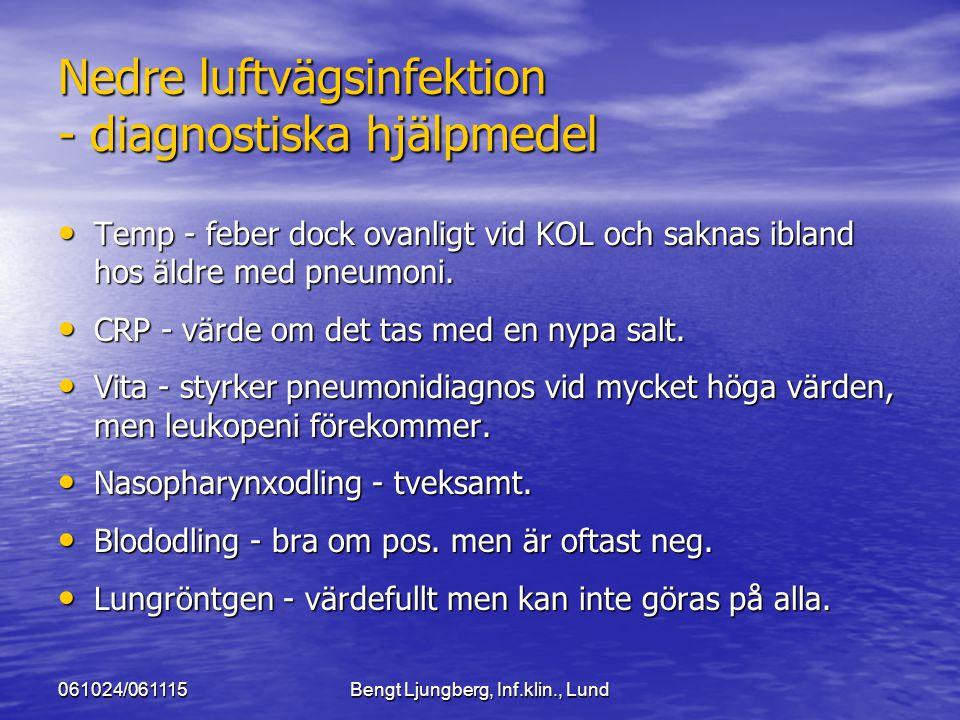 061024/061115Bengt Ljungberg, Inf.klin., Lund Nedre luftvägsinfektion - diagnostiska hjälpmedel Temp - feber dock ovanligt vid KOL och saknas ibland h