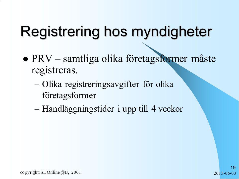 2015-06-03 copyright: SIJOnline @B, 2001 19 Registrering hos myndigheter PRV – samtliga olika företagsformer måste registreras.