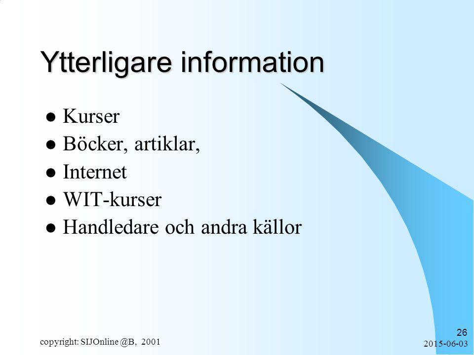 2015-06-03 copyright: SIJOnline @B, 2001 26 Ytterligare information Kurser Böcker, artiklar, Internet WIT-kurser Handledare och andra källor