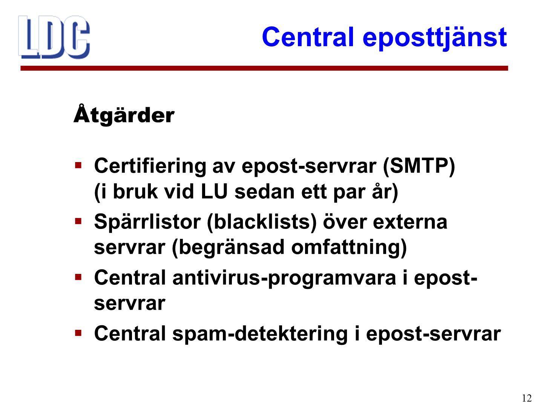 Central eposttjänst 12  Certifiering av epost-servrar (SMTP) (i bruk vid LU sedan ett par år)  Spärrlistor (blacklists) över externa servrar (begränsad omfattning)  Central antivirus-programvara i epost- servrar  Central spam-detektering i epost-servrar Åtgärder