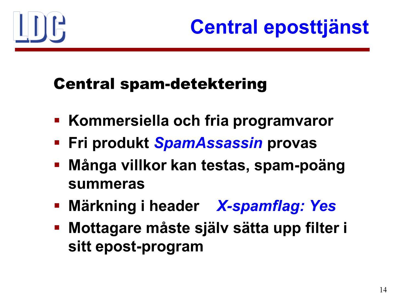 Central eposttjänst 14  Kommersiella och fria programvaror  Fri produkt SpamAssassin provas  Många villkor kan testas, spam-poäng summeras  Märkning i header X-spamflag: Yes  Mottagare måste själv sätta upp filter i sitt epost-program Central spam-detektering