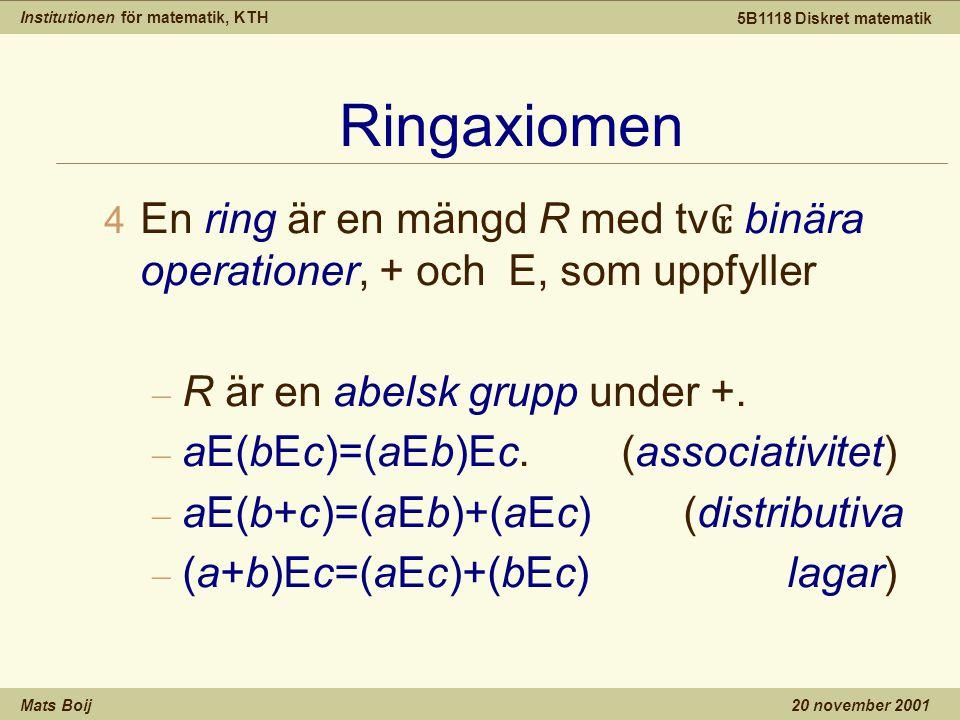 Institutionen för matematik, KTH Mats Boij 5B1118 Diskret matematik 20 november 2001 Ringaxiomen  En ring är en mängd R med tv ₢ binära operationer, + och E, som uppfyller – R är en abelsk grupp under +.