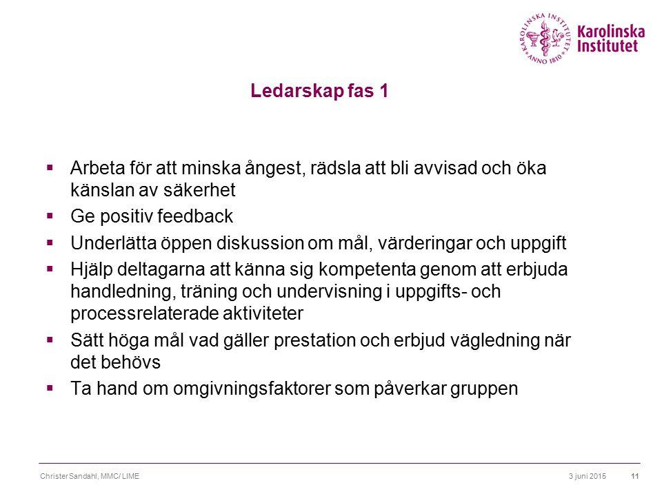3 juni 2015Christer Sandahl, MMC/ LIME12 Ledarskap fas 2  Ta inte attacker eller utmaningar personligt  Underlätta öppen diskussion och konfliktlösning i frågor om värderingar, mål och ledarskap