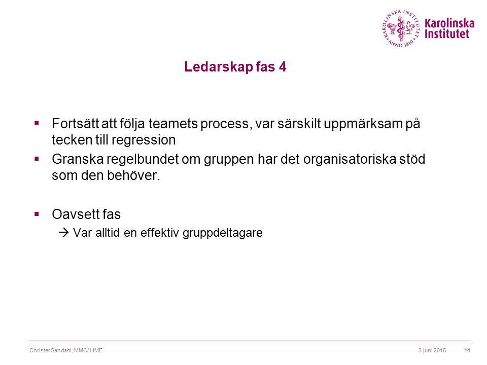 3 juni 2015Christer Sandahl, MMC/ LIME15 Vad skiljer från andra roller.