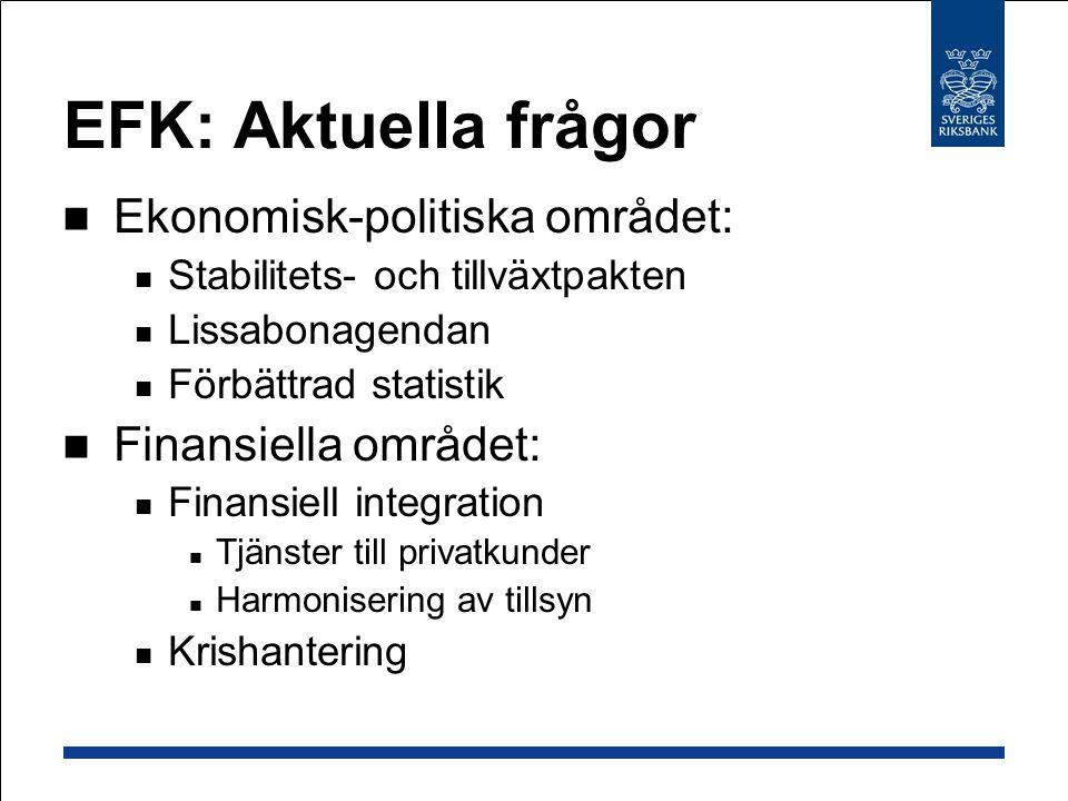EFK: Aktuella frågor Ekonomisk-politiska området: Stabilitets- och tillväxtpakten Lissabonagendan Förbättrad statistik Finansiella området: Finansiell integration Tjänster till privatkunder Harmonisering av tillsyn Krishantering