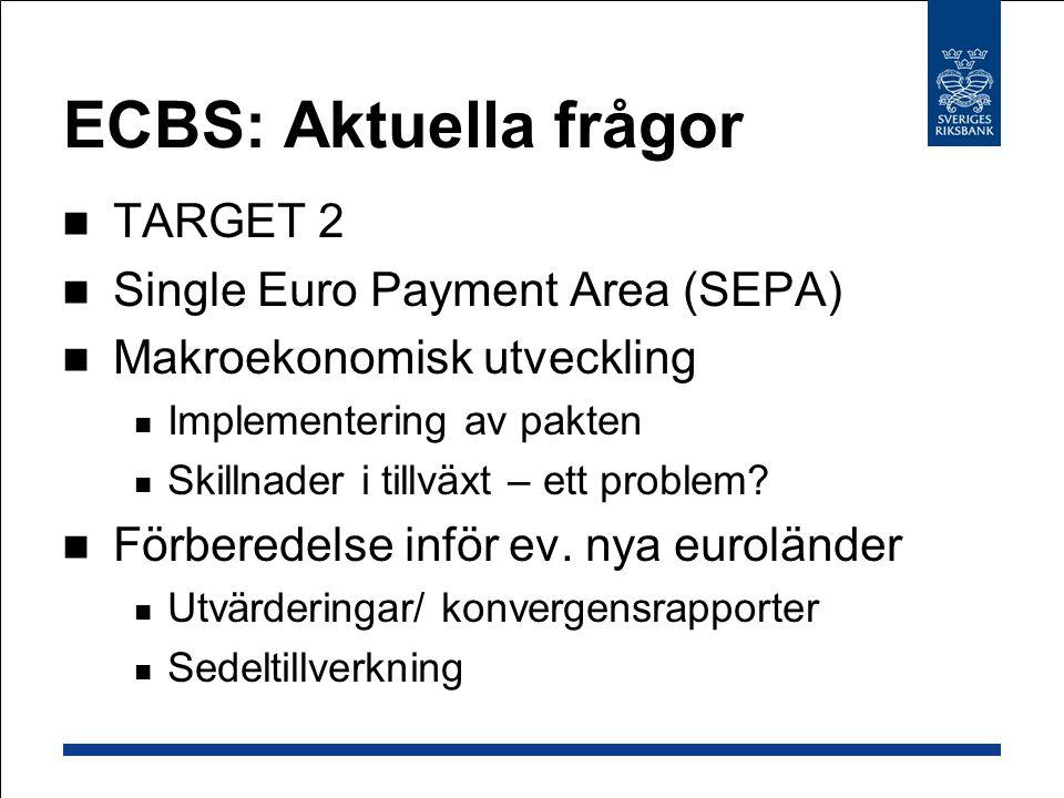 ECBS: Aktuella frågor TARGET 2 Single Euro Payment Area (SEPA) Makroekonomisk utveckling Implementering av pakten Skillnader i tillväxt – ett problem.