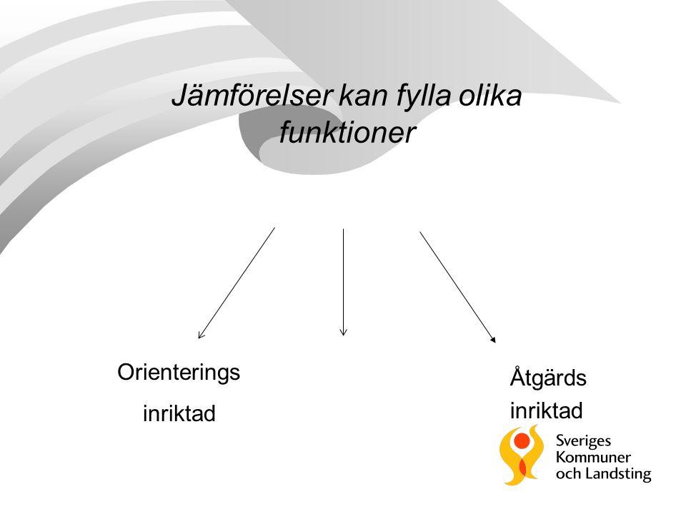 Jämförelser kan fylla olika funktioner Orienterings inriktad Åtgärds inriktad