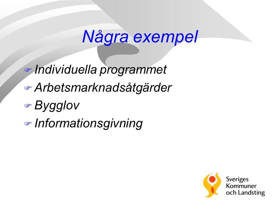 Några exempel F Individuella programmet F Arbetsmarknadsåtgärder F Bygglov F Informationsgivning