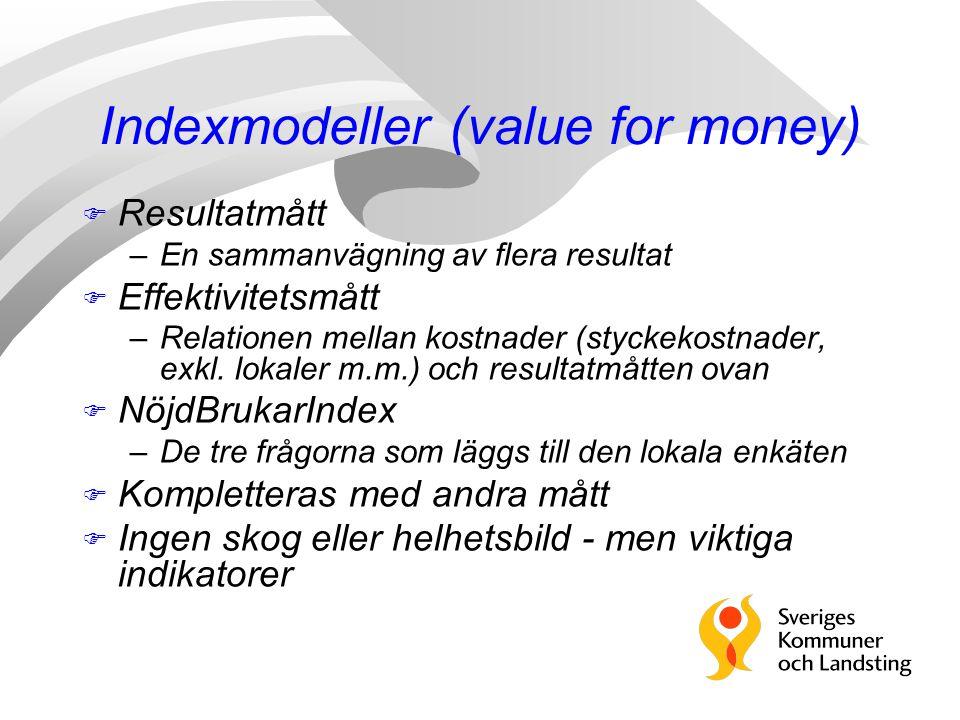 Indexmodeller (value for money) F Resultatmått –En sammanvägning av flera resultat F Effektivitetsmått –Relationen mellan kostnader (styckekostnader,