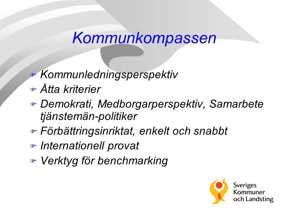 Kommunkompassen F Kommunledningsperspektiv F Åtta kriterier F Demokrati, Medborgarperspektiv, Samarbete tjänstemän-politiker F Förbättringsinriktat, e