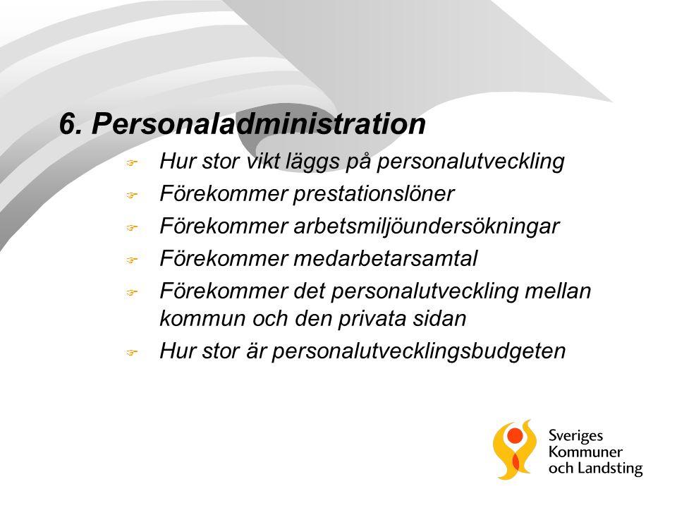 6. Personaladministration F Hur stor vikt läggs på personalutveckling F Förekommer prestationslöner F Förekommer arbetsmiljöundersökningar F Förekomme