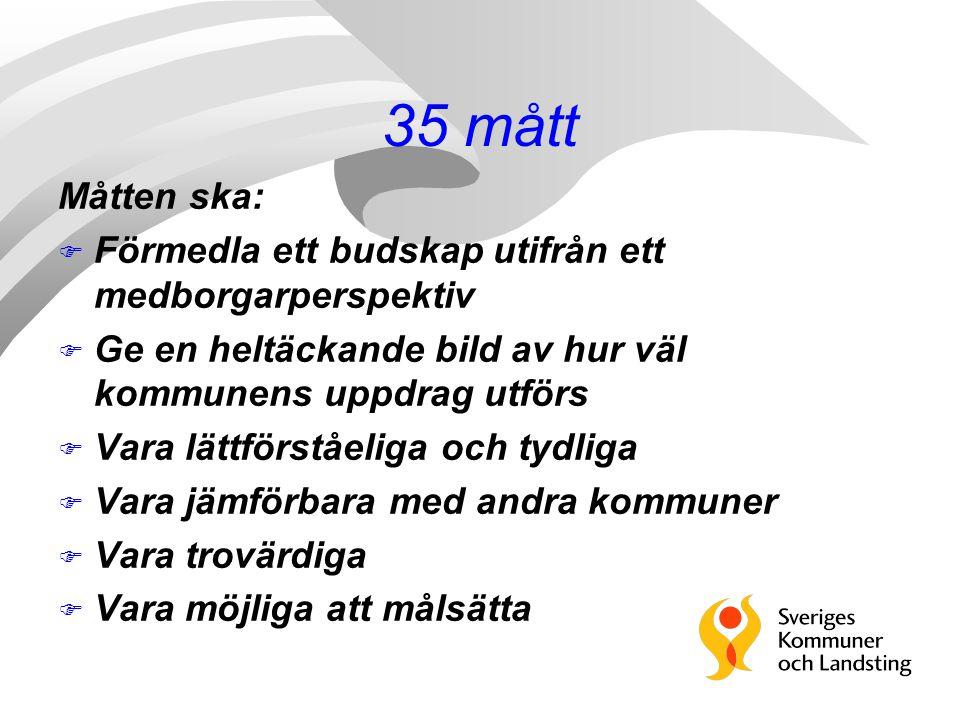 35 mått Måtten ska: F Förmedla ett budskap utifrån ett medborgarperspektiv F Ge en heltäckande bild av hur väl kommunens uppdrag utförs F Vara lättför