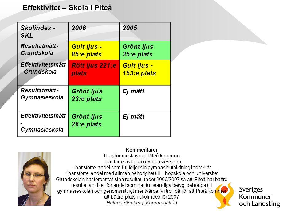 Skolindex - SKL 20062005 Resultatmått - Grundskola Gult ljus - 85:e plats Grönt ljus 35:e plats Effektivitetsmått - Grundskola Rött ljus 221:e plats G