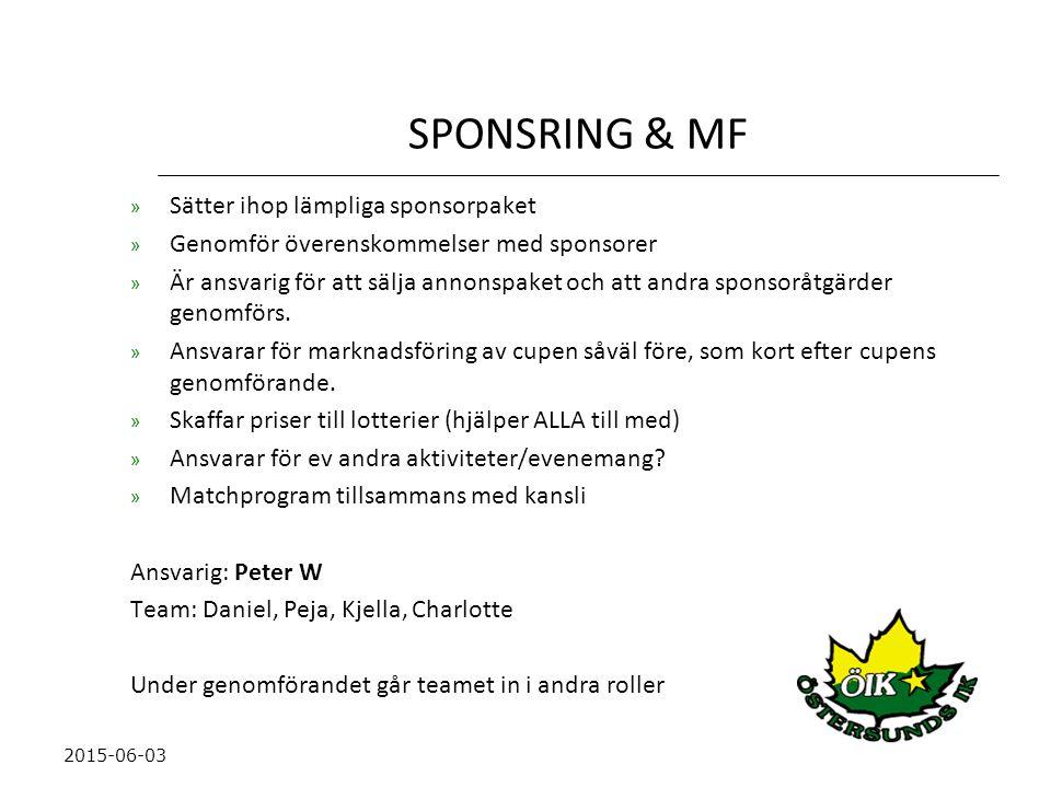SPONSRING & MF » Sätter ihop lämpliga sponsorpaket » Genomför överenskommelser med sponsorer » Är ansvarig för att sälja annonspaket och att andra sponsoråtgärder genomförs.