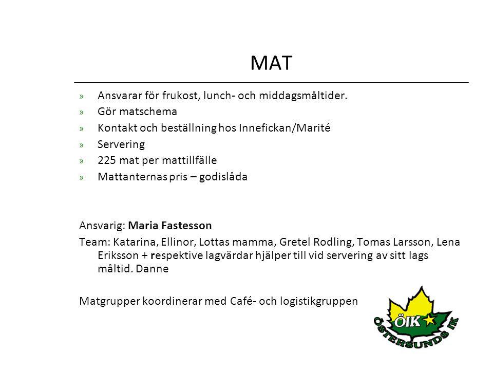 MAT » Ansvarar för frukost, lunch- och middagsmåltider.