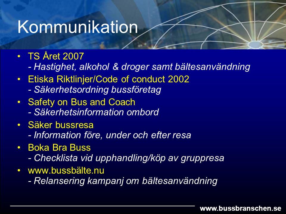 www.bussbranschen.se Kommunikation TS Året 2007 - Hastighet, alkohol & droger samt bältesanvändning Etiska Riktlinjer/Code of conduct 2002 - Säkerhets