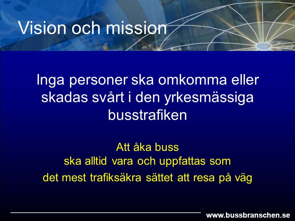 www.bussbranschen.se Att åka buss ska alltid vara och uppfattas som det mest trafiksäkra sättet att resa på väg Inga personer ska omkomma eller skadas