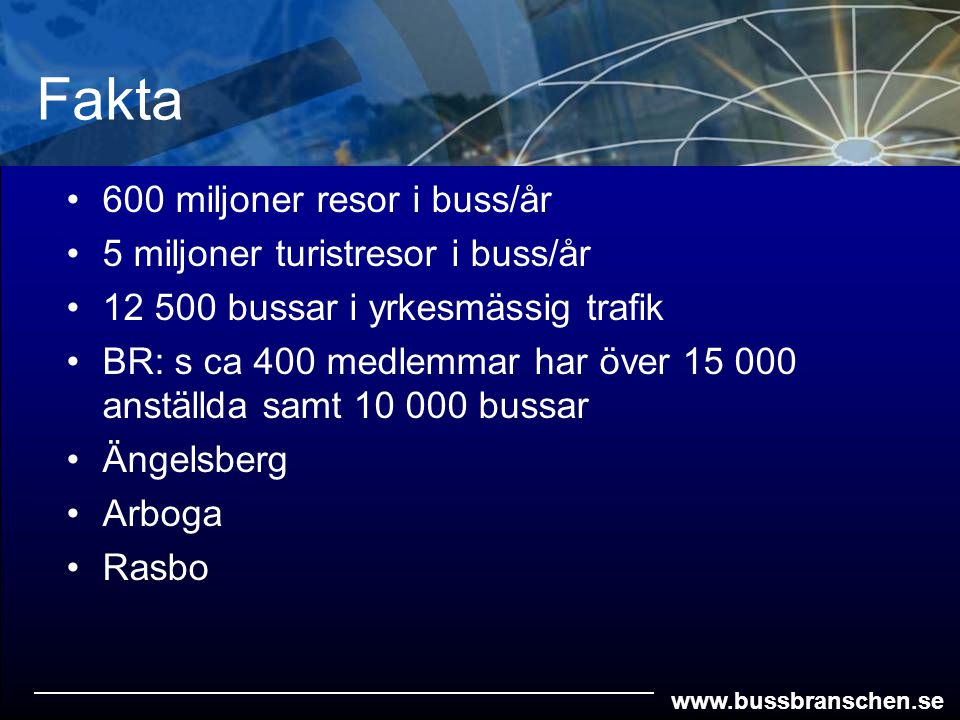 www.bussbranschen.se 600 miljoner resor i buss/år 5 miljoner turistresor i buss/år 12 500 bussar i yrkesmässig trafik BR: s ca 400 medlemmar har över