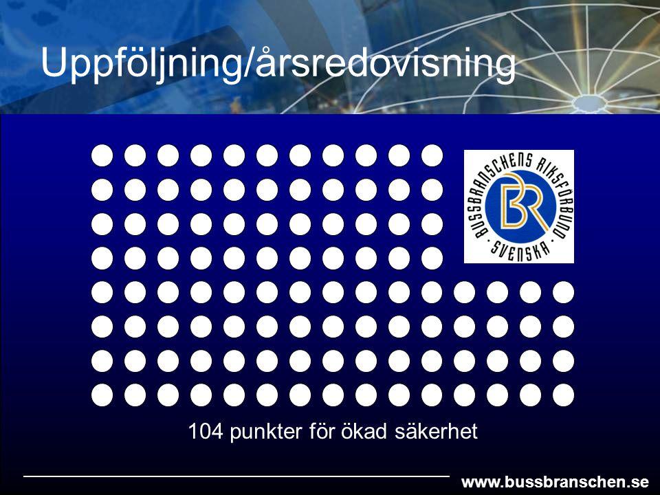 www.bussbranschen.se Uppföljning/årsredovisning 104 punkter för ökad säkerhet