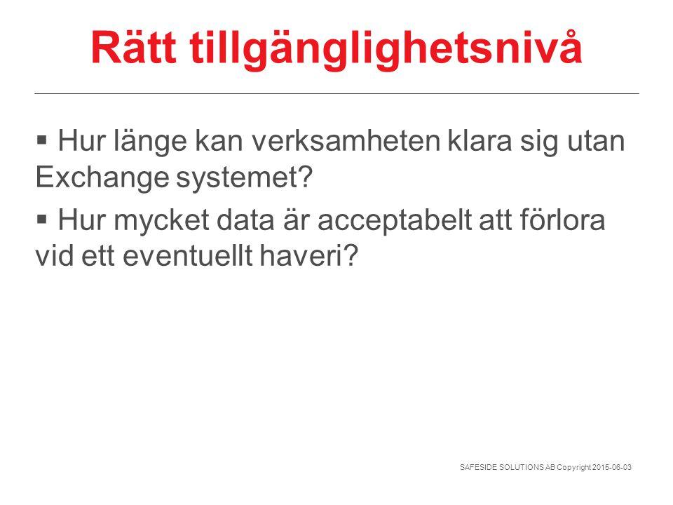SAFESIDE SOLUTIONS AB Copyright 2015-06-03 Rätt tillgänglighetsnivå  Hur länge kan verksamheten klara sig utan Exchange systemet?  Hur mycket data ä