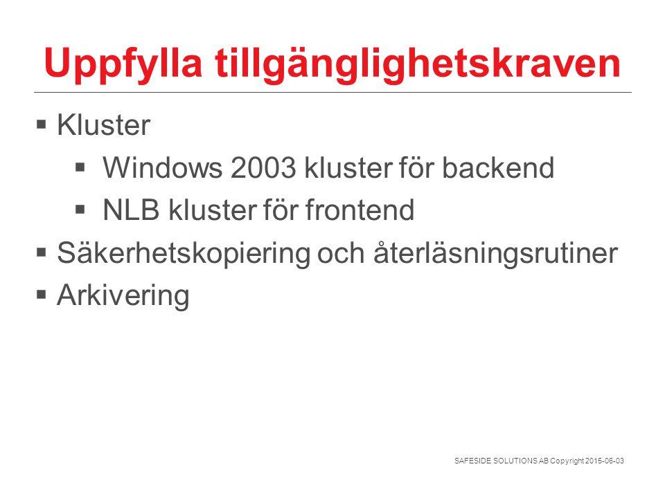 SAFESIDE SOLUTIONS AB Copyright 2015-06-03 Uppfylla tillgänglighetskraven  Kluster  Windows 2003 kluster för backend  NLB kluster för frontend  Sä
