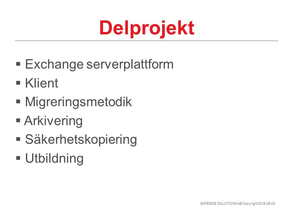 SAFESIDE SOLUTIONS AB Copyright 2015-06-03 Delprojekt  Exchange serverplattform  Klient  Migreringsmetodik  Arkivering  Säkerhetskopiering  Utbi