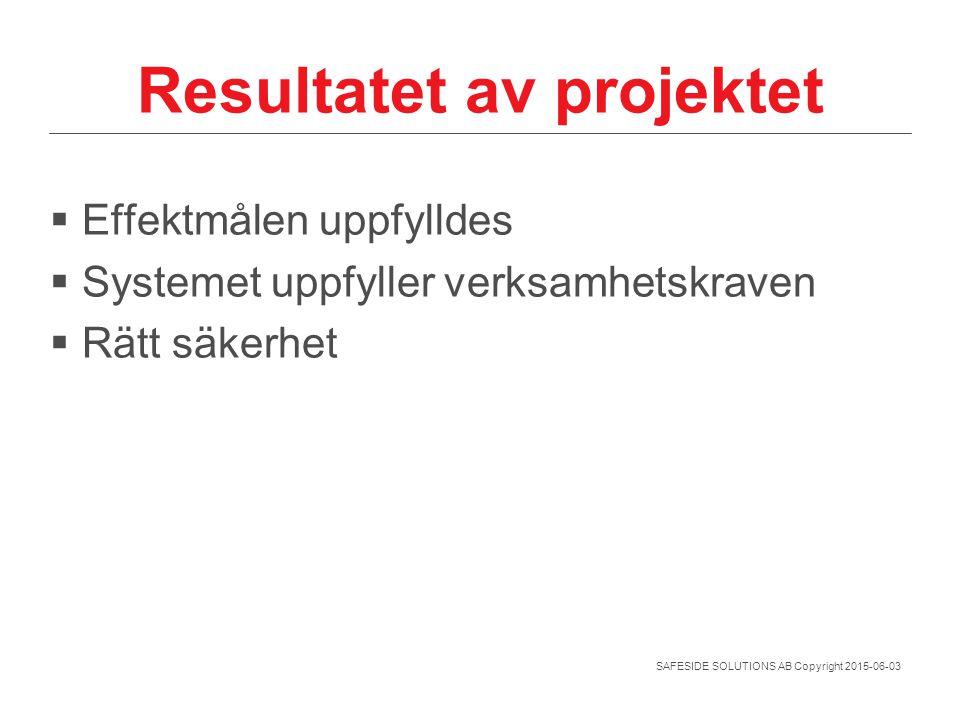 SAFESIDE SOLUTIONS AB Copyright 2015-06-03 Resultatet av projektet  Effektmålen uppfylldes  Systemet uppfyller verksamhetskraven  Rätt säkerhet