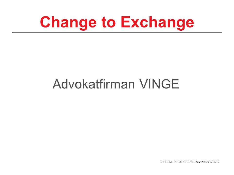 SAFESIDE SOLUTIONS AB Copyright 2015-06-03 Change to Exchange Advokatfirman VINGE