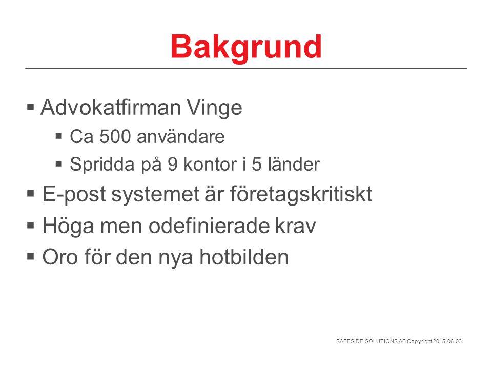 SAFESIDE SOLUTIONS AB Copyright 2015-06-03 Bakgrund  Advokatfirman Vinge  Ca 500 användare  Spridda på 9 kontor i 5 länder  E-post systemet är för