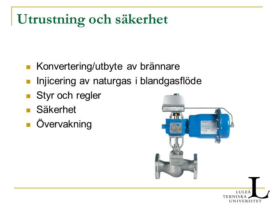 Utrustning och säkerhet Konvertering/utbyte av brännare Injicering av naturgas i blandgasflöde Styr och regler Säkerhet Övervakning