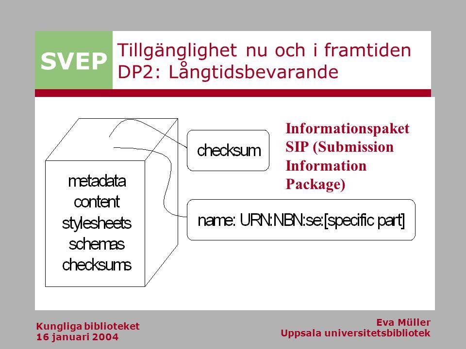 SVEP Kungliga biblioteket 16 januari 2004 Eva Müller Uppsala universitetsbibliotek Tillgänglighet nu och i framtiden DP2: Långtidsbevarande Informationspaket SIP (Submission Information Package)