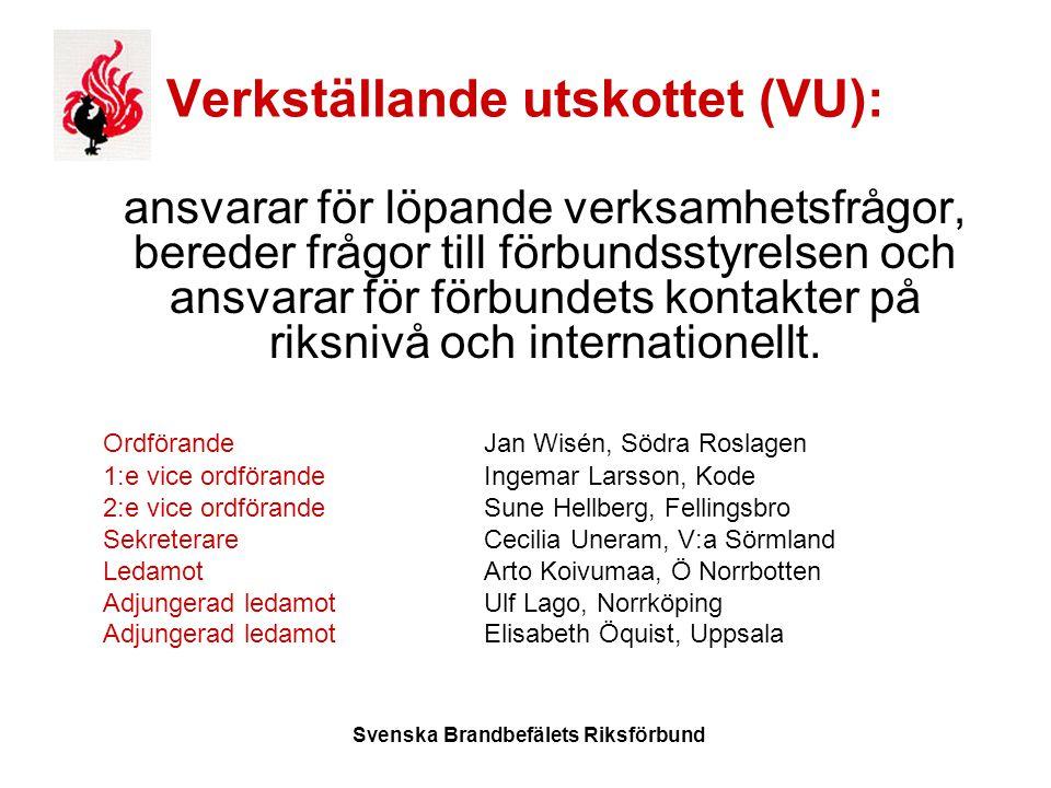Svenska Brandbefälets Riksförbund Verkställande utskottet (VU): ansvarar för löpande verksamhetsfrågor, bereder frågor till förbundsstyrelsen och ansvarar för förbundets kontakter på riksnivå och internationellt.