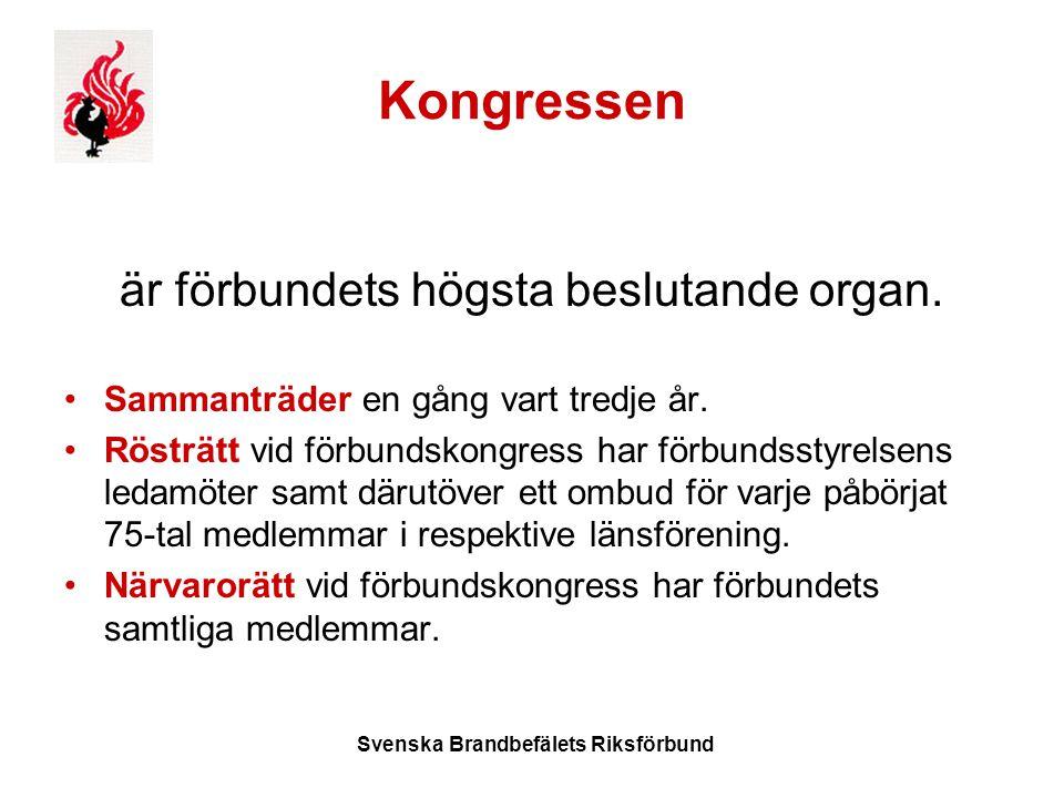 Svenska Brandbefälets Riksförbund Kongressen är förbundets högsta beslutande organ.