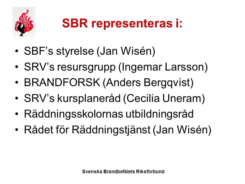 Svenska Brandbefälets Riksförbund SBR representeras i: SBF's styrelse (Jan Wisén) SRV's resursgrupp (Ingemar Larsson) BRANDFORSK (Anders Bergqvist) SRV's kursplaneråd (Cecilia Uneram) Räddningsskolornas utbildningsråd Rådet för Räddningstjänst (Jan Wisén)