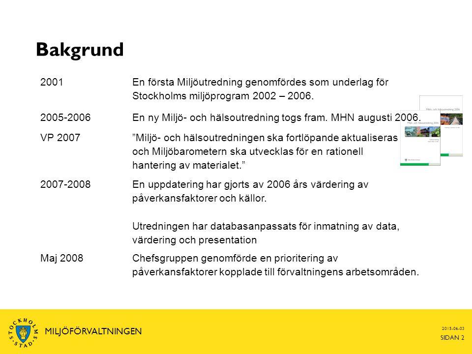 2015-06-03 SIDAN 2 MILJÖFÖRVALTNINGEN Bakgrund 2001 En första Miljöutredning genomfördes som underlag för Stockholms miljöprogram 2002 – 2006. 2005-20