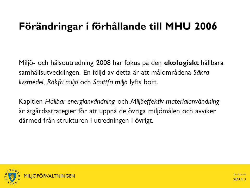 2015-06-03 SIDAN 3 MILJÖFÖRVALTNINGEN Förändringar i förhållande till MHU 2006 Miljö- och hälsoutredning 2008 har fokus på den ekologiskt hållbara sam