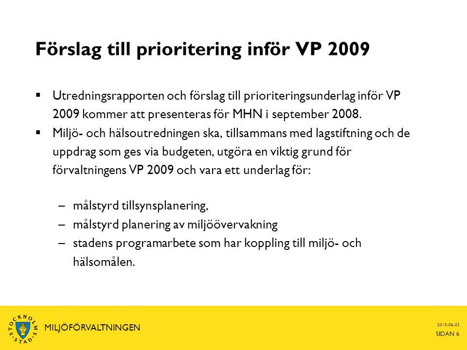 2015-06-03 SIDAN 6 MILJÖFÖRVALTNINGEN Förslag till prioritering inför VP 2009  Utredningsrapporten och förslag till prioriteringsunderlag inför VP 20