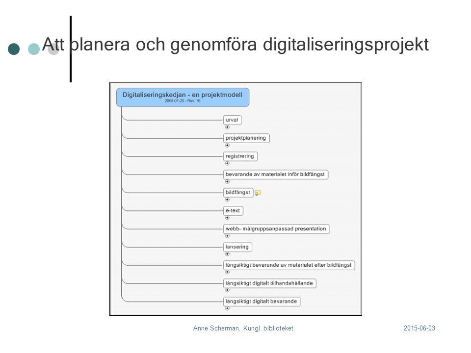 2015-06-03Anne Scherman, Kungl. biblioteket Att planera och genomföra digitaliseringsprojekt