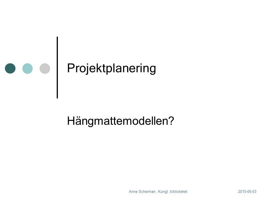 2015-06-03Anne Scherman, Kungl. biblioteket Projektplanering Hängmattemodellen